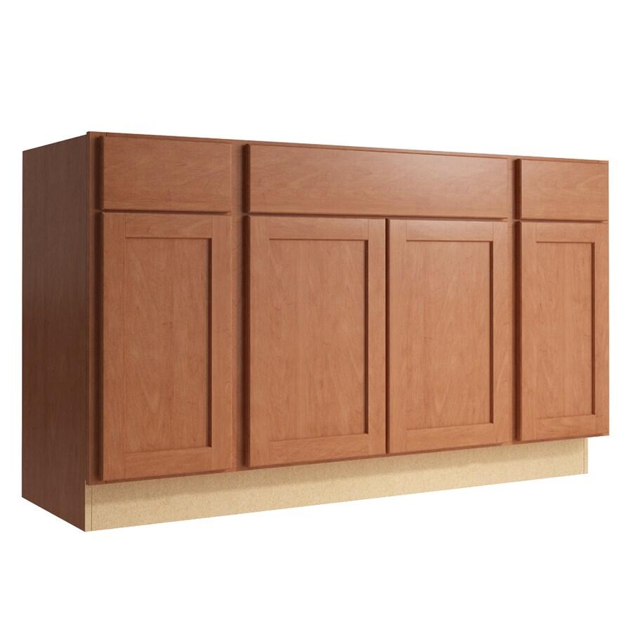 KraftMaid Momentum Hazelnut Paxton 4-Door 2-Drawer Sink Base (Common: 60-in x 21-in x 34.5-in; Actual: 60-in x 21-in x 34.5-in)
