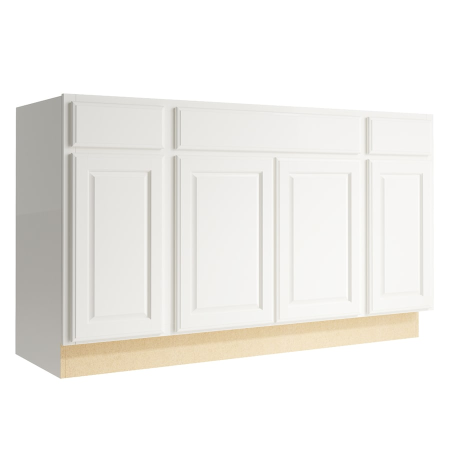 KraftMaid Momentum Cotton Settler 4-Door 2-Drawer Sink Base (Common: 60-in x 21-in x 34.5-in; Actual: 60-in x 21-in x 34.5-in)