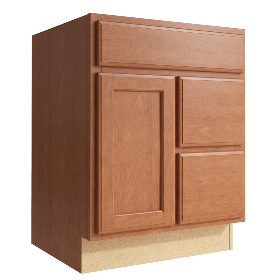 KraftMaid Momentum Hazelnut Kingston 1-Door 2-Drawer Right Base Cabinet (Common: 24-in x 21-in x 31.5-in; Actual: 24-in x 21-in x 31.5-in)