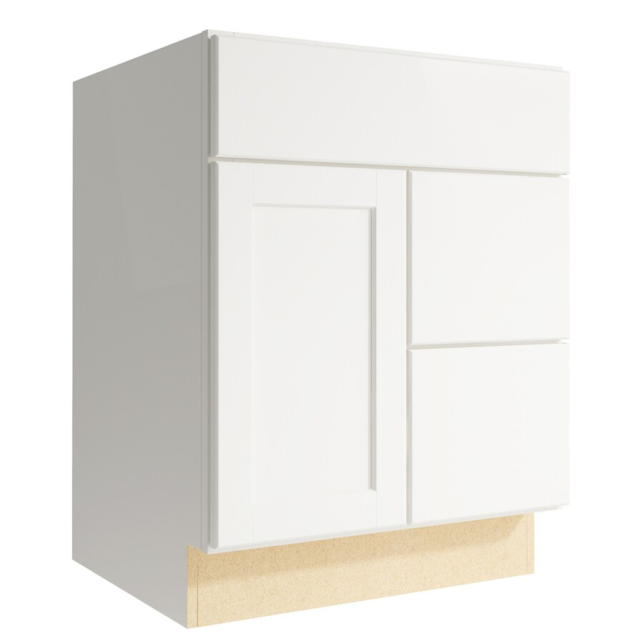 KraftMaid Momentum Cotton Paxton 1-Door 2-Drawer Right Base Cabinet (Common: 24-in x 21-in x 31.5-in; Actual: 24-in x 21-in x 31.5-in)