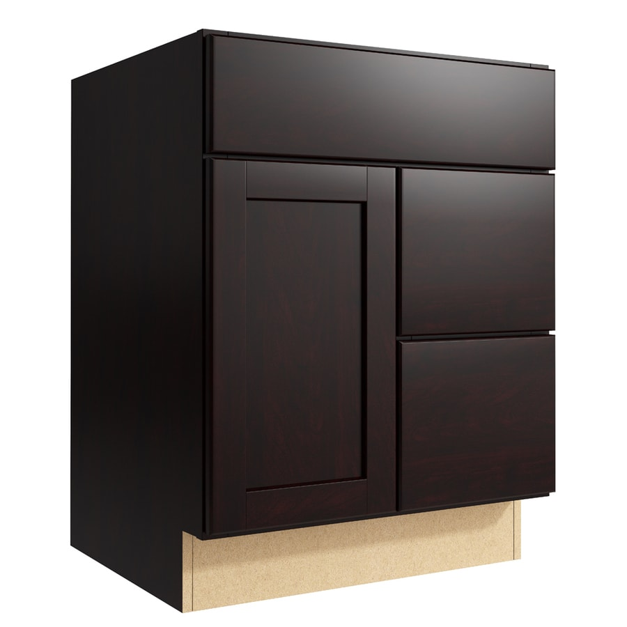 KraftMaid Momentum Kona Paxton 1-Door 2-Drawer Right Base Cabinet (Common: 24-in x 21-in x 31.5-in; Actual: 24-in x 21-in x 31.5-in)