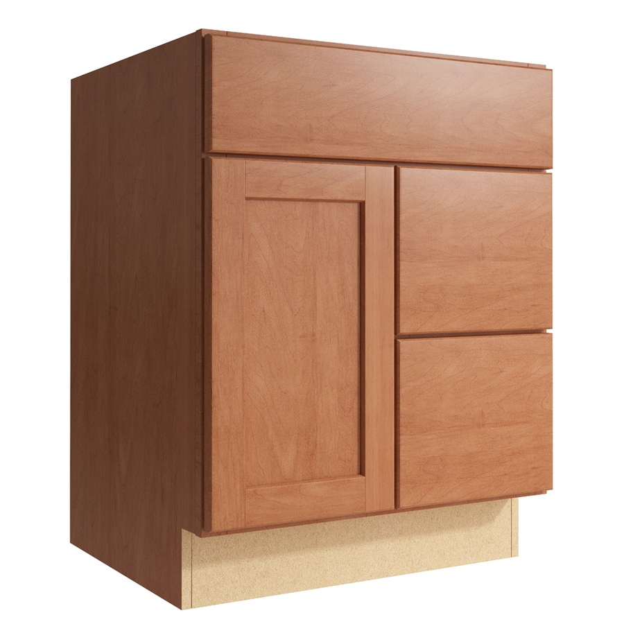 KraftMaid Momentum Hazelnut Paxton 1-Door 2-Drawer Right Base Cabinet (Common: 24-in x 21-in x 31.5-in; Actual: 24-in x 21-in x 31.5-in)