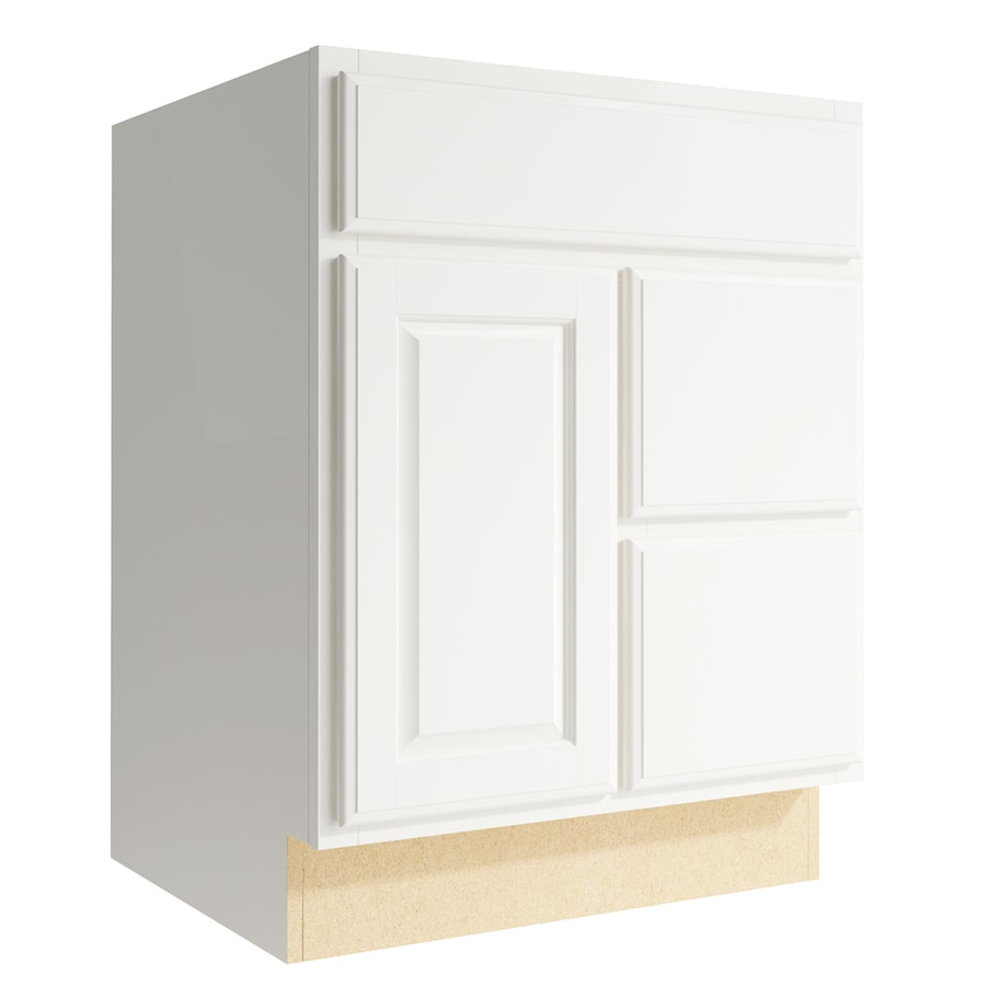 KraftMaid Momentum Cotton Settler 1-Door 2-Drawer Right Base Cabinet (Common: 24-in x 21-in x 31.5-in; Actual: 24-in x 21-in x 31.5-in)