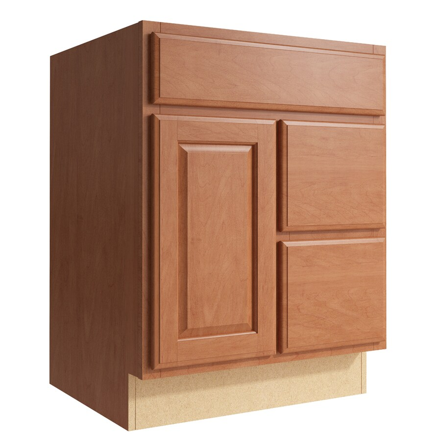 KraftMaid Momentum Hazelnut Settler 1-Door 2-Drawer Right Base Cabinet (Common: 24-in x 21-in x 31.5-in; Actual: 24-in x 21-in x 31.5-in)