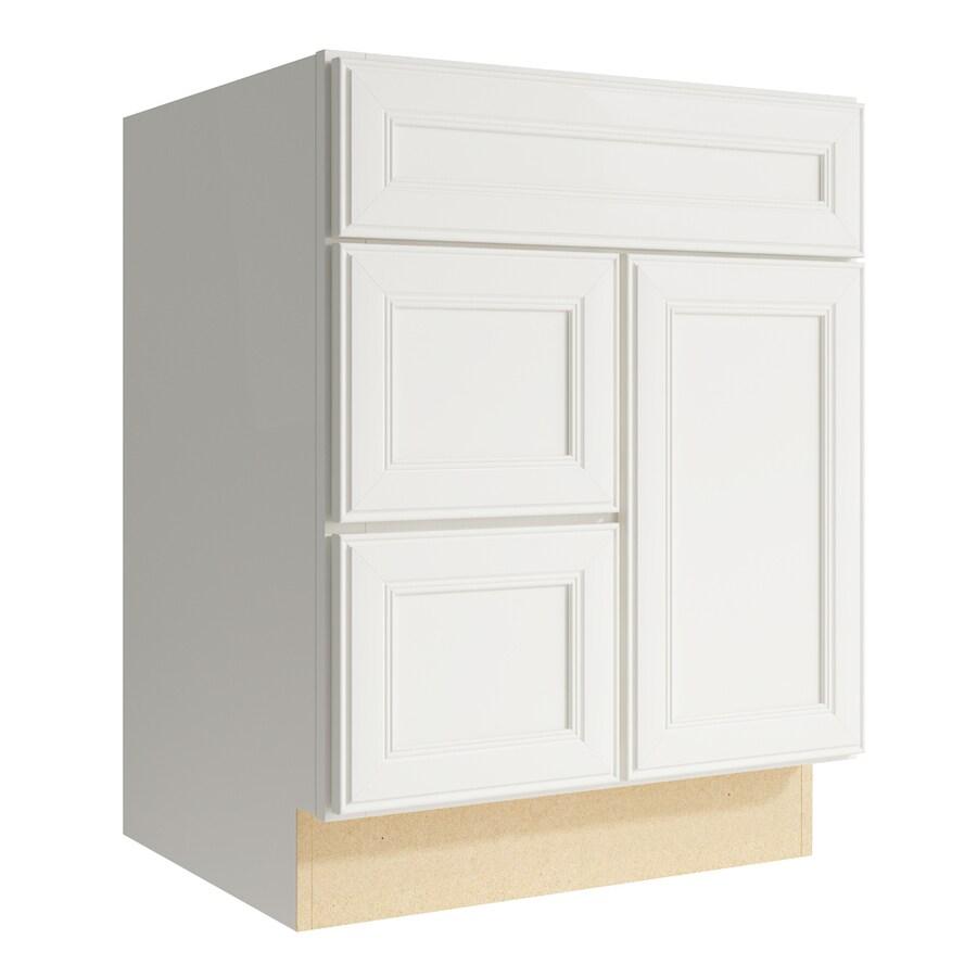KraftMaid Momentum Cotton Bellamy 1-Door 2-Drawer Left Base Cabinet (Common: 24-in x 21-in x 31.5-in; Actual: 24-in x 21-in x 31.5-in)
