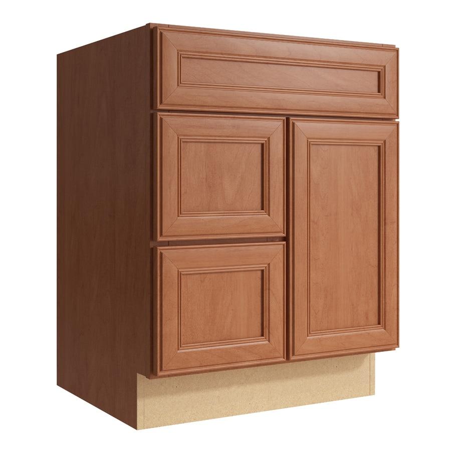 KraftMaid Momentum Hazelnut Bellamy 1-Door 2-Drawer Left Base Cabinet (Common: 24-in x 21-in x 31.5-in; Actual: 24-in x 21-in x 31.5-in)