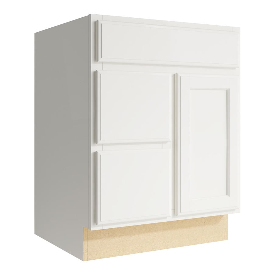 KraftMaid Momentum Cotton Kingston 1-Door 2-Drawer Left Base Cabinet (Common: 24-in x 21-in x 31.5-in; Actual: 24-in x 21-in x 31.5-in)