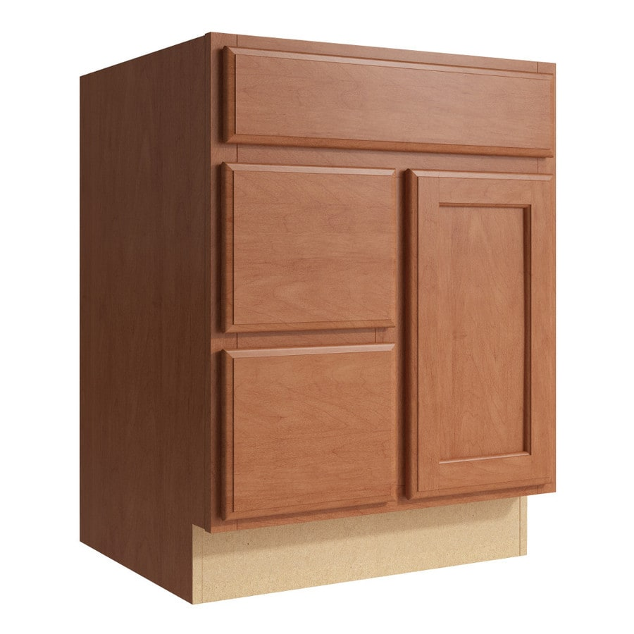 KraftMaid Momentum Hazelnut Kingston 1-Door 2-Drawer Left Base Cabinet (Common: 24-in x 21-in x 31.5-in; Actual: 24-in x 21-in x 31.5-in)