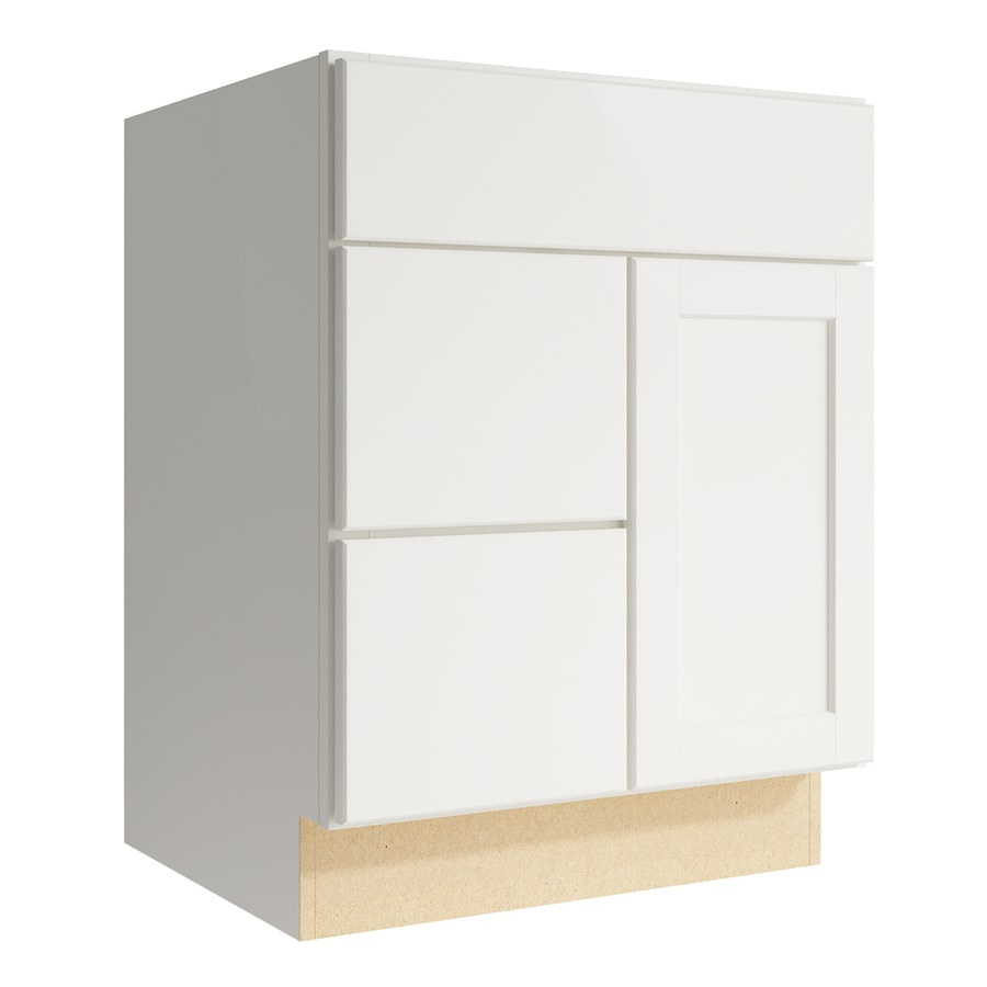 KraftMaid Momentum Cotton Paxton 1-Door 2-Drawer Left Base Cabinet (Common: 24-in x 21-in x 31.5-in; Actual: 24-in x 21-in x 31.5-in)