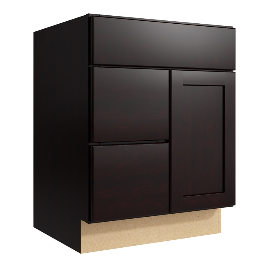 KraftMaid Momentum Kona Paxton 1-Door 2-Drawer Left Base Cabinet (Common: 24-in x 21-in x 31.5-in; Actual: 24-in x 21-in x 31.5-in)