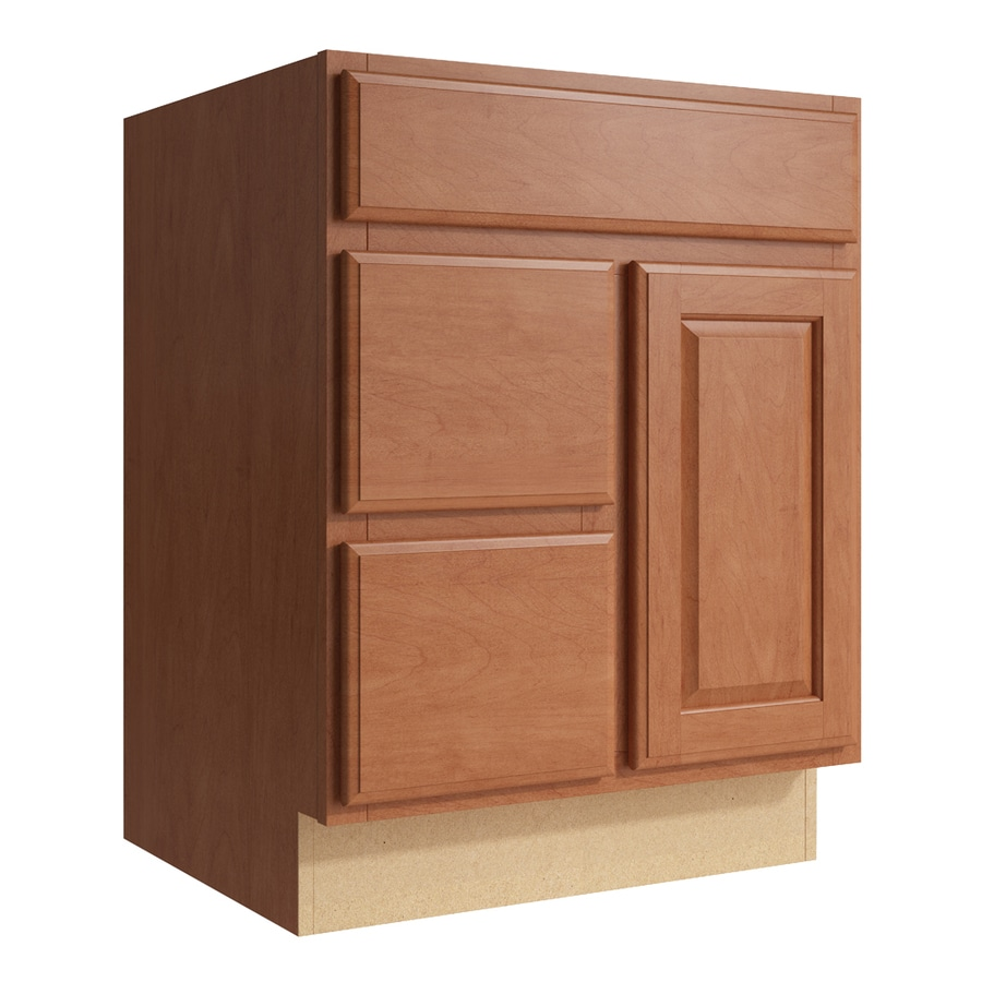 KraftMaid Momentum Hazelnut Settler 1-Door 2-Drawer Left Base Cabinet (Common: 24-in x 21-in x 31.5-in; Actual: 24-in x 21-in x 31.5-in)
