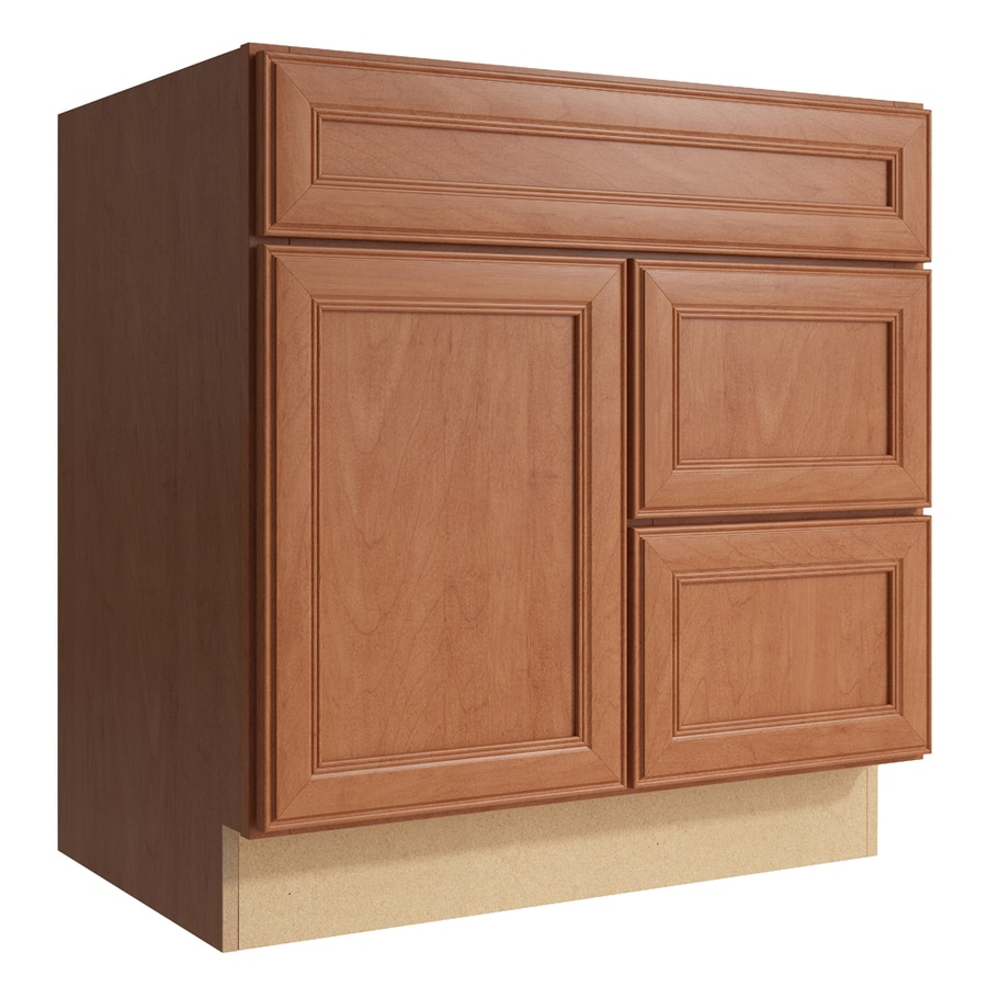 kraftmaid bathroom vanity cabinets shop kraftmaid momentum bellamy 30 in hazelnut bathroom 22378