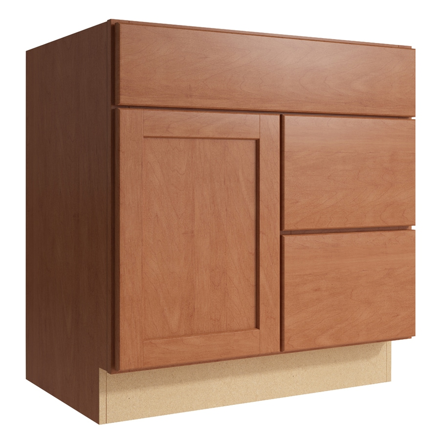 KraftMaid Momentum Hazelnut Paxton 1-Door 2-Drawer Right Base Cabinet (Common: 30-in x 21-in x 31.5-in; Actual: 30-in x 21-in x 31.5-in)