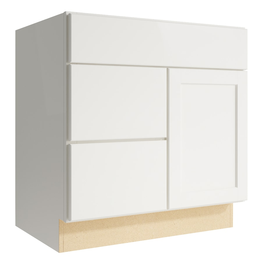 KraftMaid Momentum Cotton Paxton 1-Door 2-Drawer Left Base Cabinet (Common: 30-in x 21-in x 31.5-in; Actual: 30-in x 21-in x 31.5-in)