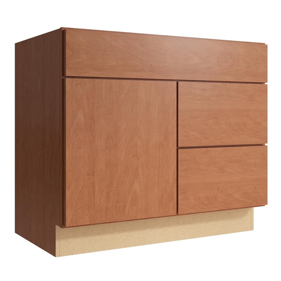 KraftMaid Momentum Hazelnut Frontier 1-Door 2-Drawer Right Base Cabinet (Common: 36-in x 21-in x 31.5-in; Actual: 36-in x 21-in x 31.5-in)