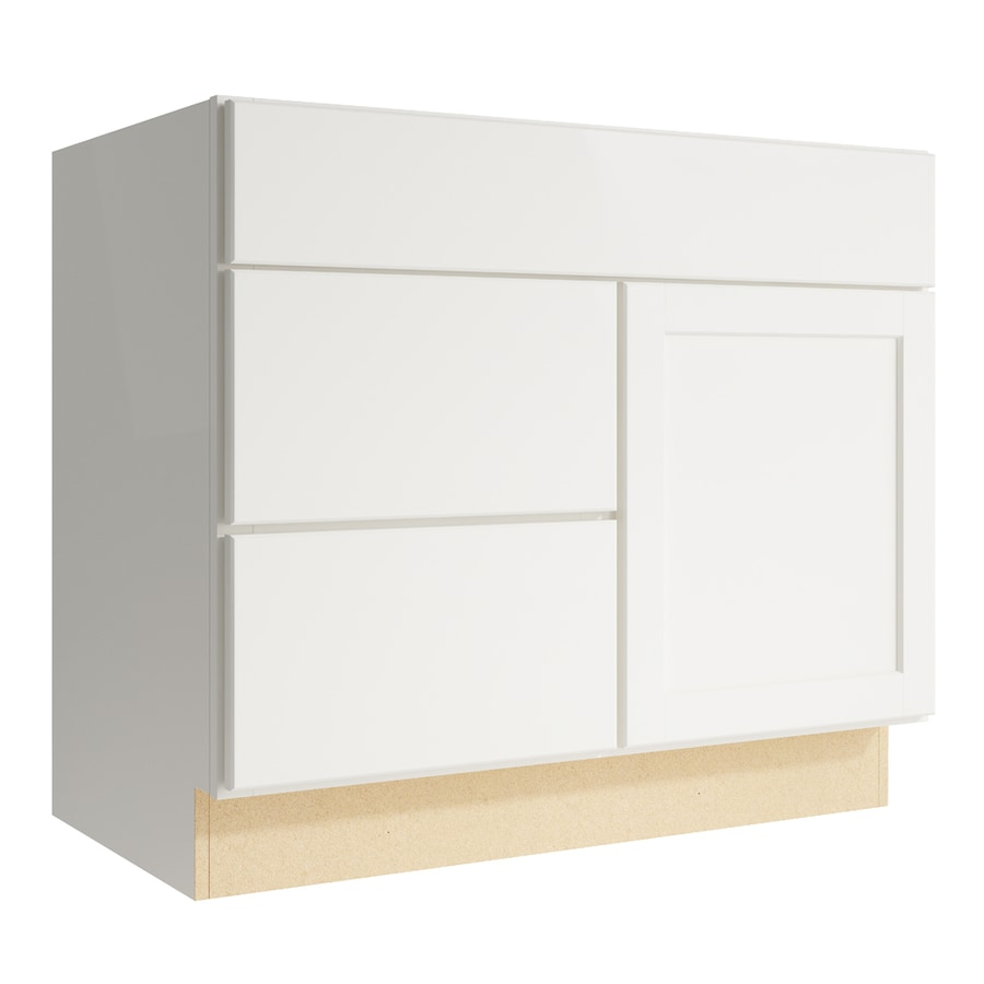 KraftMaid Momentum Cotton Paxton 1-Door 2-Drawer Left Base Cabinet (Common: 36-in x 21-in x 31.5-in; Actual: 36-in x 21-in x 31.5-in)