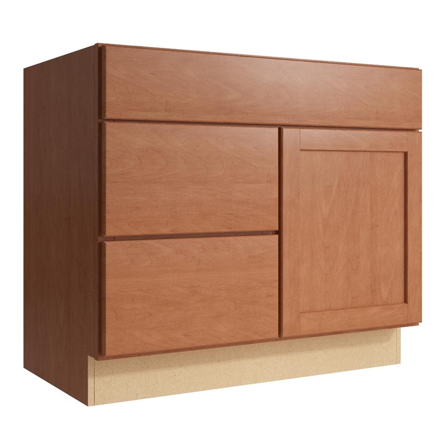 KraftMaid Momentum Hazelnut Paxton 1-Door 2-Drawer Left Base Cabinet (Common: 36-in x 21-in x 31.5-in; Actual: 36-in x 21-in x 31.5-in)