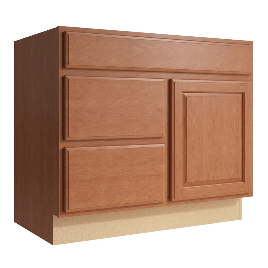 KraftMaid Momentum Hazelnut Settler 1-Door 2-Drawer Left Base Cabinet (Common: 36-in x 21-in x 31.5-in; Actual: 36-in x 21-in x 31.5-in)