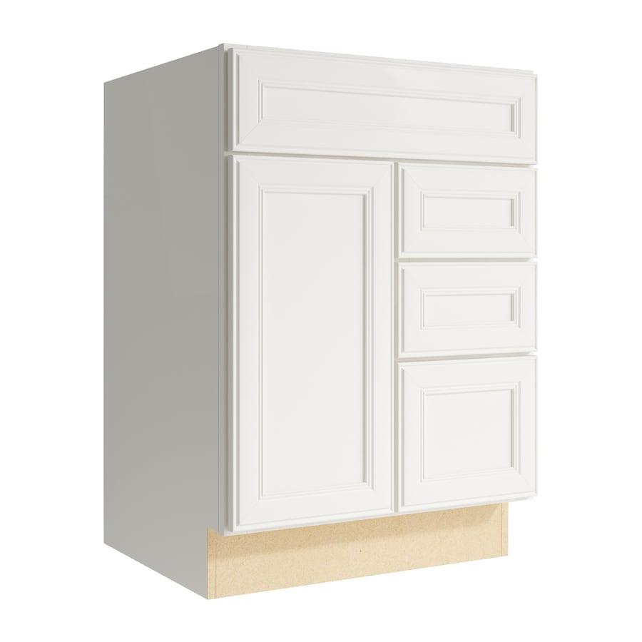 KraftMaid Momentum Cotton Bellamy 1-Door 3-Drawer Right Base Cabinet (Common: 24-in x 21-in x 34.5-in; Actual: 24-in x 21-in x 34.5-in)