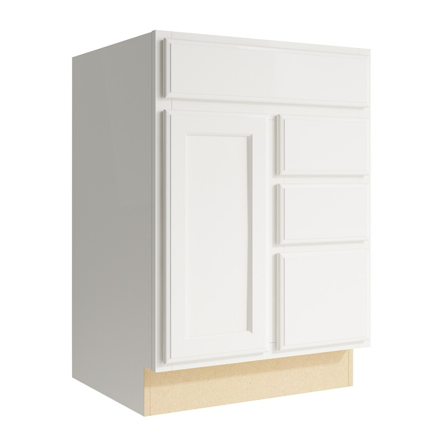 KraftMaid Momentum Cotton Kingston 1-Door 3-Drawer Right Base Cabinet (Common: 24-in x 21-in x 34.5-in; Actual: 24-in x 21-in x 34.5-in)