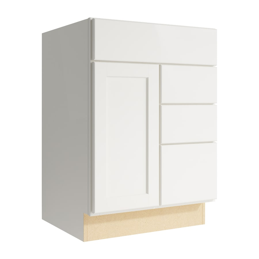 KraftMaid Momentum Cotton Paxton 1-Door 3-Drawer Right Base Cabinet (Common: 24-in x 21-in x 34.5-in; Actual: 24-in x 21-in x 34.5-in)