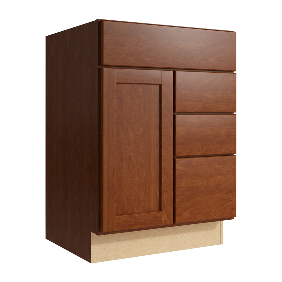 KraftMaid Momentum Sable Paxton 1-Door 3-Drawer Right Base Cabinet (Common: 24-in x 21-in x 34.5-in; Actual: 24-in x 21-in x 34.5-in)