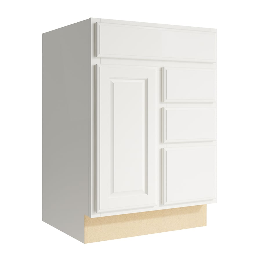 KraftMaid Momentum Cotton Settler 1-Door 3-Drawer Right Base Cabinet (Common: 24-in x 21-in x 34.5-in; Actual: 24-in x 21-in x 34.5-in)