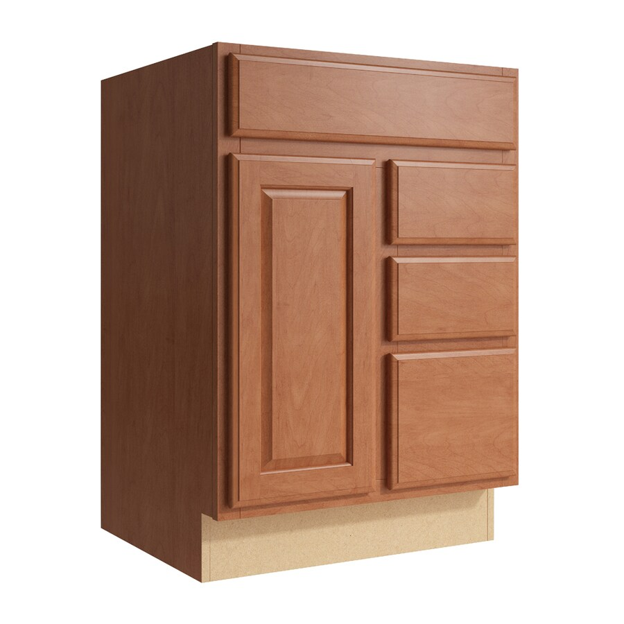 KraftMaid Momentum Hazelnut Settler 1-Door 3-Drawer Right Base Cabinet (Common: 24-in x 21-in x 34.5-in; Actual: 24-in x 21-in x 34.5-in)