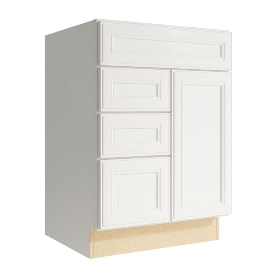 KraftMaid Momentum Cotton Bellamy 1-Door 3-Drawer Left Base Cabinet (Common: 24-in x 21-in x 34.5-in; Actual: 24-in x 21-in x 34.5-in)