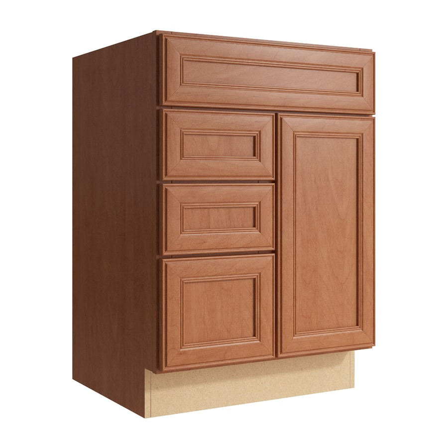 KraftMaid Momentum Hazelnut Bellamy 1-Door 3-Drawer Left Base Cabinet (Common: 24-in x 21-in x 34.5-in; Actual: 24-in x 21-in x 34.5-in)