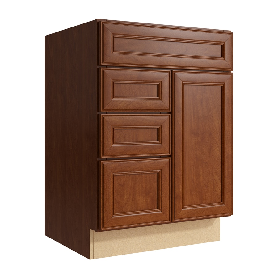 KraftMaid Momentum Sable Bellamy 1-Door 3-Drawer Left Base Cabinet (Common: 24-in x 21-in x 34.5-in; Actual: 24-in x 21-in x 34.5-in)