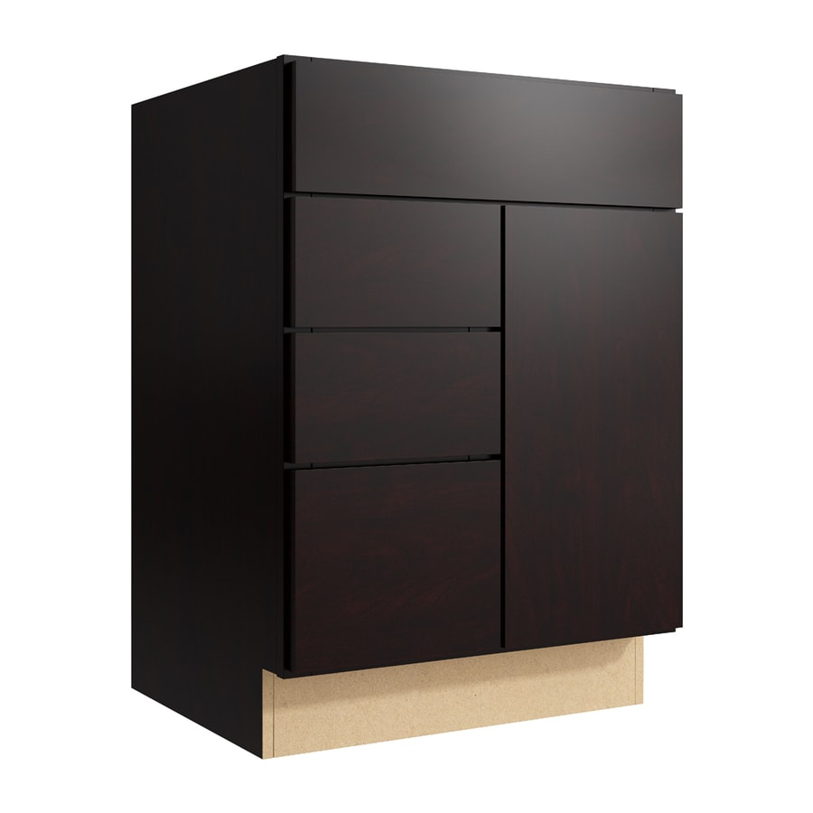 KraftMaid Momentum Kona Frontier 1-Door 3-Drawer Left Base Cabinet (Common: 24-in x 21-in x 34.5-in; Actual: 24-in x 21-in x 34.5-in)