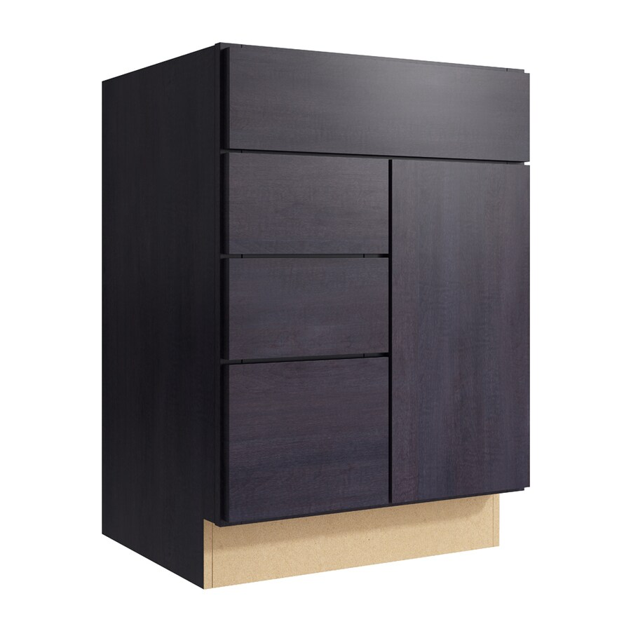 KraftMaid Momentum Dusk Frontier 1-Door 3-Drawer Left Base Cabinet (Common: 24-in x 21-in x 34.5-in; Actual: 24-in x 21-in x 34.5-in)