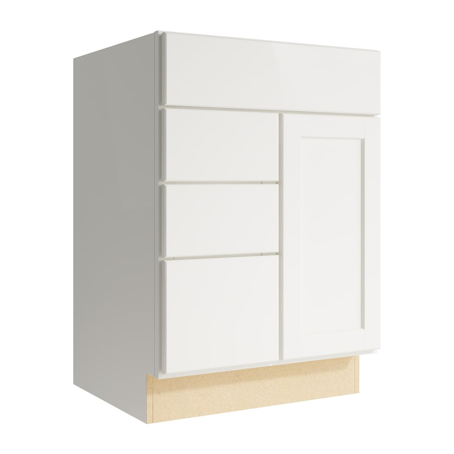 KraftMaid Momentum Cotton Paxton 1-Door 3-Drawer Left Base Cabinet (Common: 24-in x 21-in x 34.5-in; Actual: 24-in x 21-in x 34.5-in)