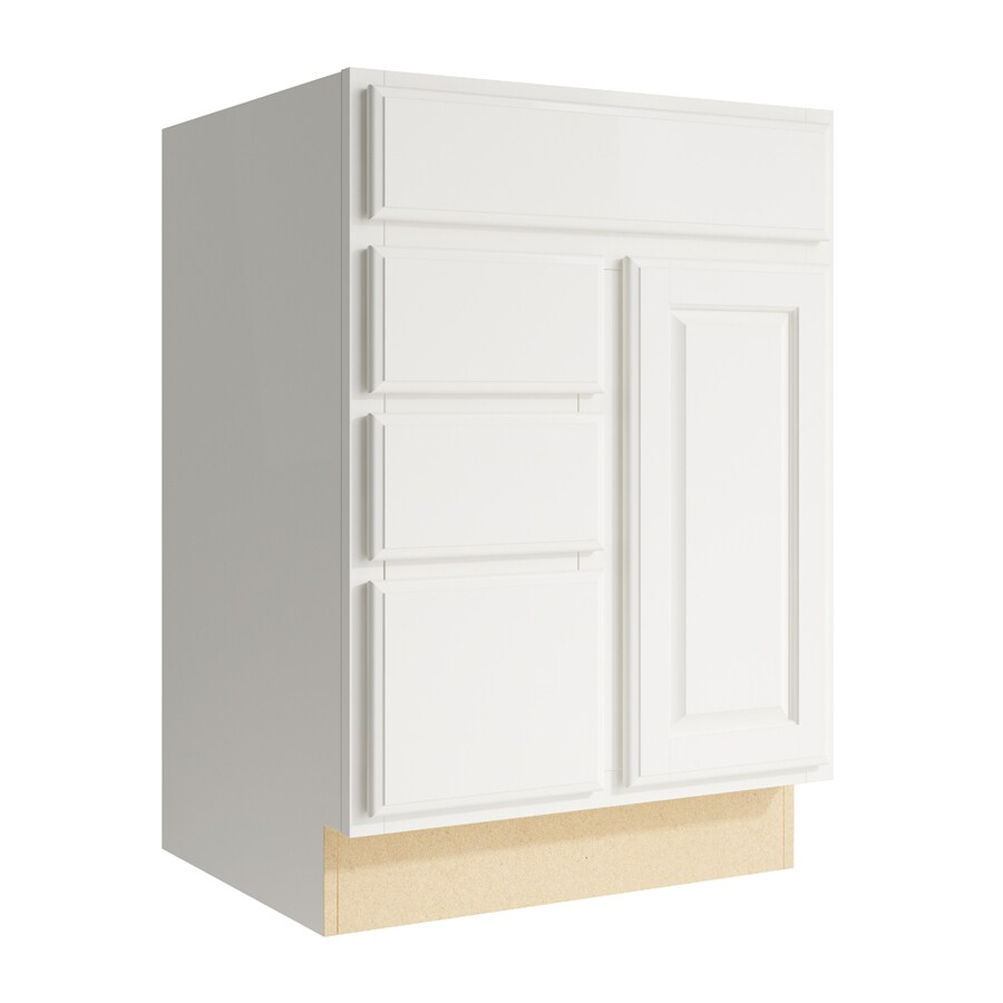 KraftMaid Momentum Cotton Settler 1-Door 3-Drawer Left Base Cabinet (Common: 24-in x 21-in x 34.5-in; Actual: 24-in x 21-in x 34.5-in)