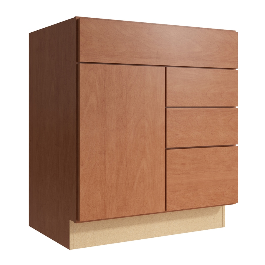 KraftMaid Momentum Hazelnut Frontier 1-Door 3-Drawer Right Base Cabinet (Common: 30-in x 21-in x 34.5-in; Actual: 30-in x 21-in x 34.5-in)
