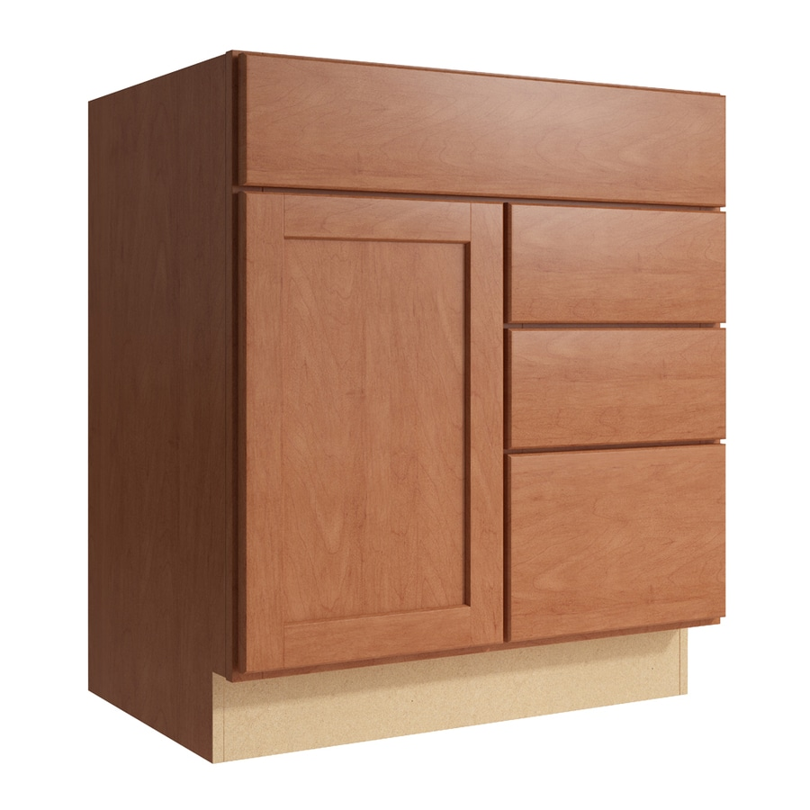 KraftMaid Momentum Hazelnut Paxton 1-Door 3-Drawer Right Base Cabinet (Common: 30-in x 21-in x 34.5-in; Actual: 30-in x 21-in x 34.5-in)