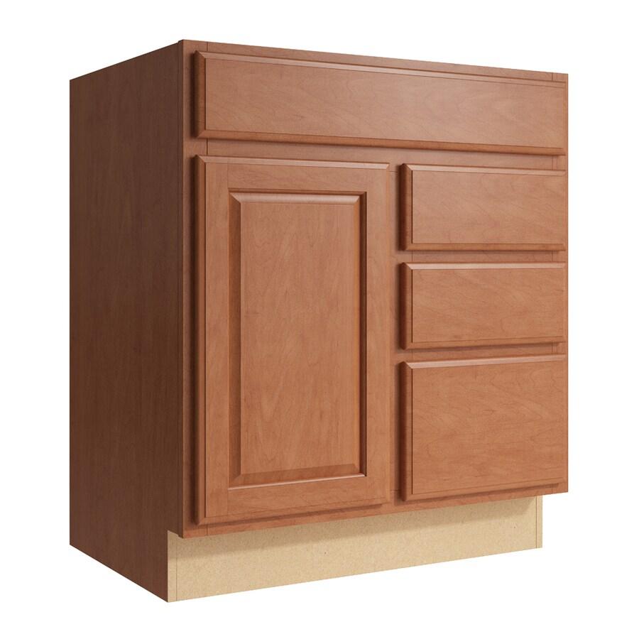 KraftMaid Momentum Hazelnut Settler 1-Door 3-Drawer Right Base Cabinet (Common: 30-in x 21-in x 34.5-in; Actual: 30-in x 21-in x 34.5-in)