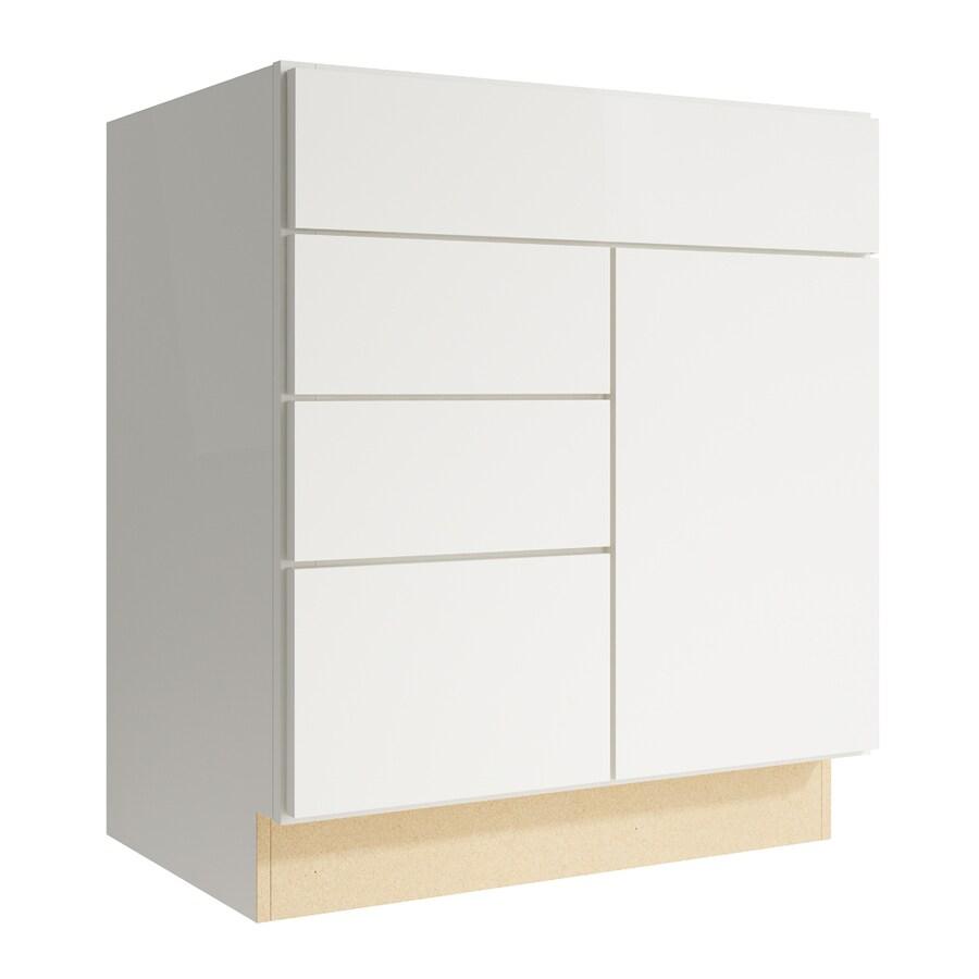 KraftMaid Momentum Cotton Frontier 1-Door 3-Drawer Left Base Cabinet (Common: 30-in x 21-in x 34.5-in; Actual: 30-in x 21-in x 34.5-in)
