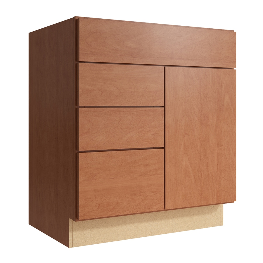 KraftMaid Momentum Hazelnut Frontier 1-Door 3-Drawer Left Base Cabinet (Common: 30-in x 21-in x 34.5-in; Actual: 30-in x 21-in x 34.5-in)