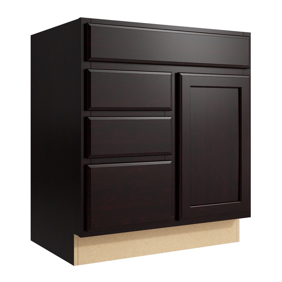 KraftMaid Momentum Kona Kingston 1-Door 3-Drawer Left Base Cabinet (Common: 30-in x 21-in x 34.5-in; Actual: 30-in x 21-in x 34.5-in)