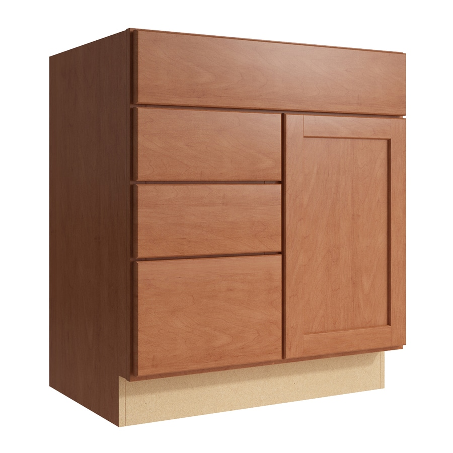 KraftMaid Momentum Hazelnut Paxton 1-Door 3-Drawer Left Base Cabinet (Common: 30-in x 21-in x 34.5-in; Actual: 30-in x 21-in x 34.5-in)