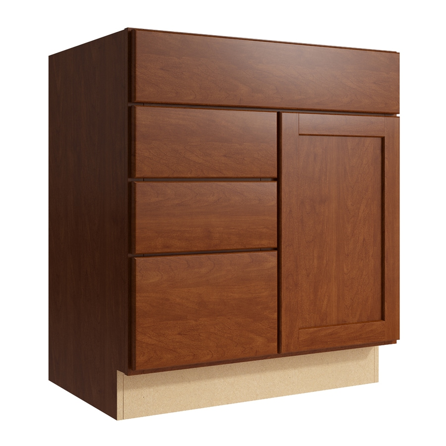 KraftMaid Momentum Sable Paxton 1-Door 3-Drawer Left Base Cabinet (Common: 30-in x 21-in x 34.5-in; Actual: 30-in x 21-in x 34.5-in)