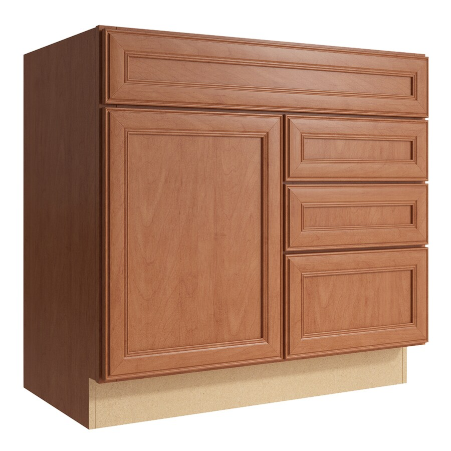KraftMaid Momentum Hazelnut Bellamy 1-Door 3-Drawer Right Base Cabinet (Common: 36-in x 21-in x 34.5-in; Actual: 36-in x 21-in x 34.5-in)