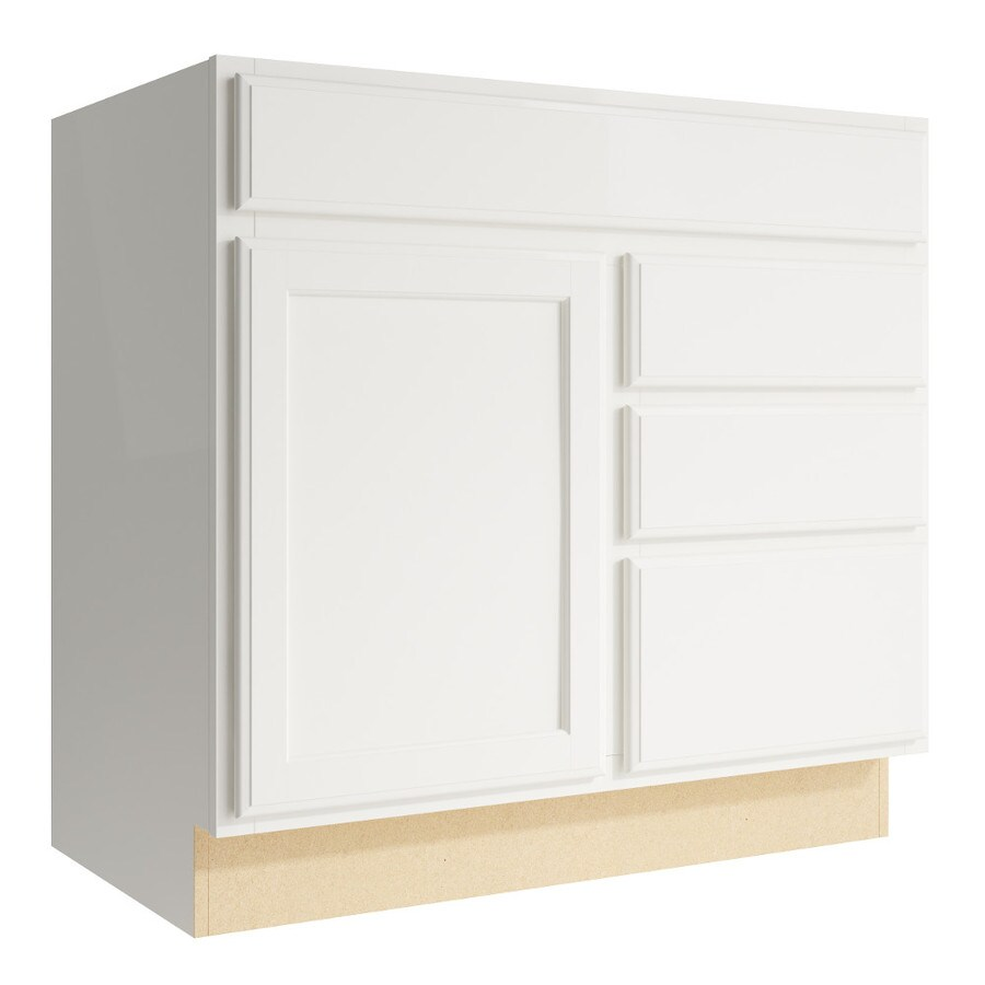 KraftMaid Momentum Cotton Kingston 1-Door 3-Drawer Right Base Cabinet (Common: 36-in x 21-in x 34.5-in; Actual: 36-in x 21-in x 34.5-in)