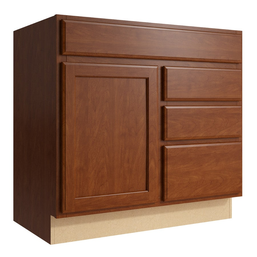 KraftMaid Momentum Sable Kingston 1-Door 3-Drawer Right Base Cabinet (Common: 36-in x 21-in x 34.5-in; Actual: 36-in x 21-in x 34.5-in)