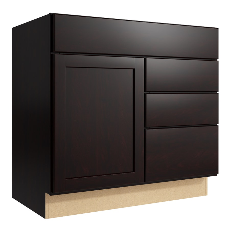 KraftMaid Momentum Kona Paxton 1-Door 3-Drawer Right Base Cabinet (Common: 36-in x 21-in x 34.5-in; Actual: 36-in x 21-in x 34.5-in)