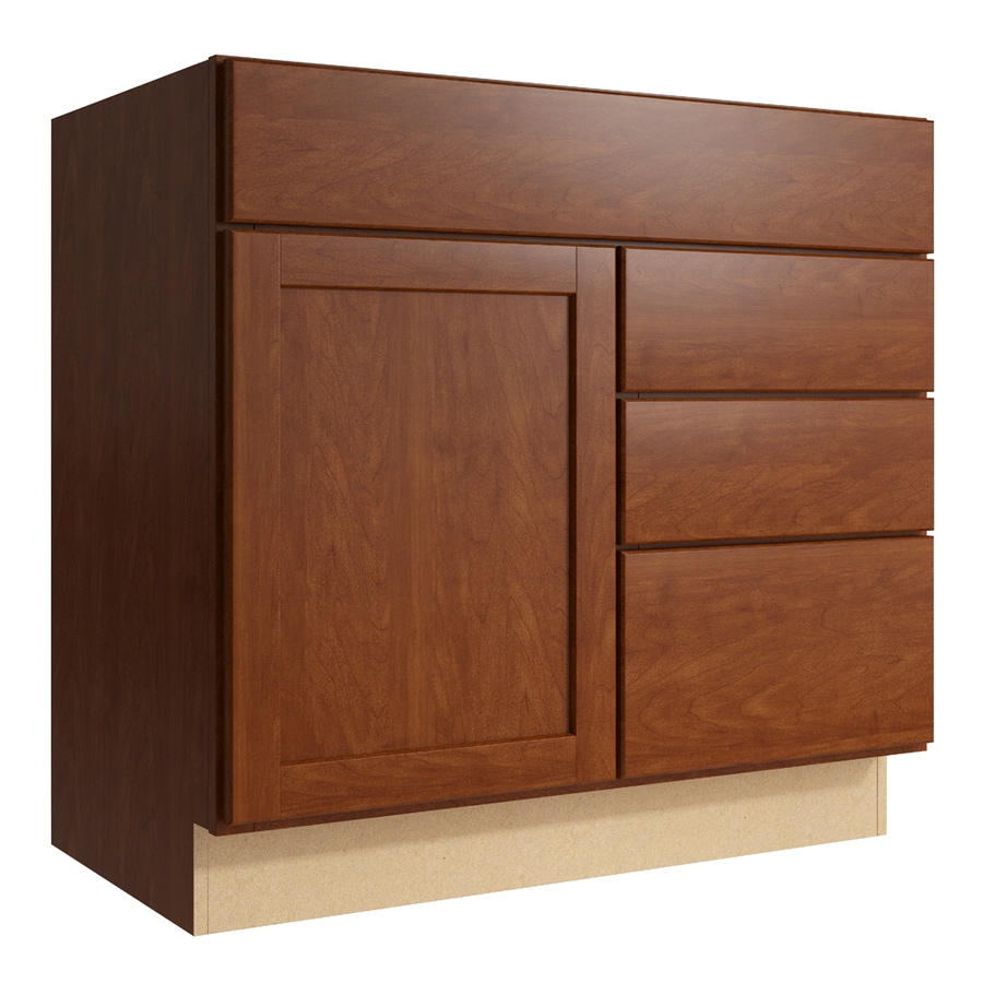 KraftMaid Momentum Sable Paxton 1-Door 3-Drawer Right Base Cabinet (Common: 36-in x 21-in x 34.5-in; Actual: 36-in x 21-in x 34.5-in)