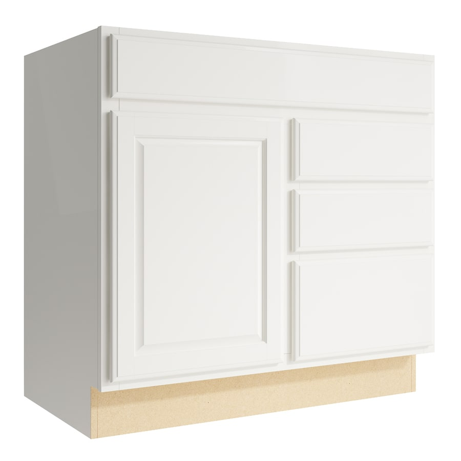 KraftMaid Momentum Cotton Settler 1-Door 3-Drawer Right Base Cabinet (Common: 36-in x 21-in x 34.5-in; Actual: 36-in x 21-in x 34.5-in)