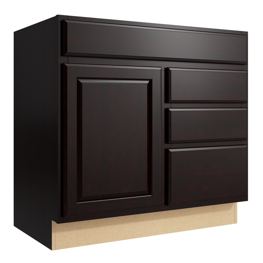 KraftMaid Momentum Kona Settler 1-Door 3-Drawer Right Base Cabinet (Common: 36-in x 21-in x 34.5-in; Actual: 36-in x 21-in x 34.5-in)